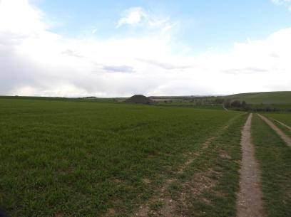Silbury Hill seen from the track to West Kennet Long Barrow